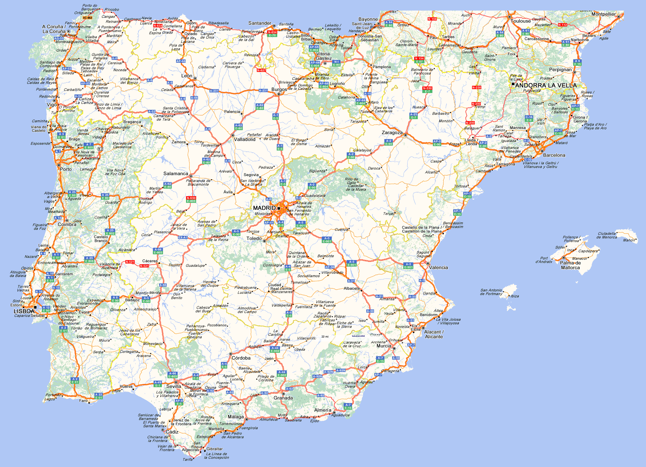 MapadeCarreterasdeEspanayPortugal Podemos