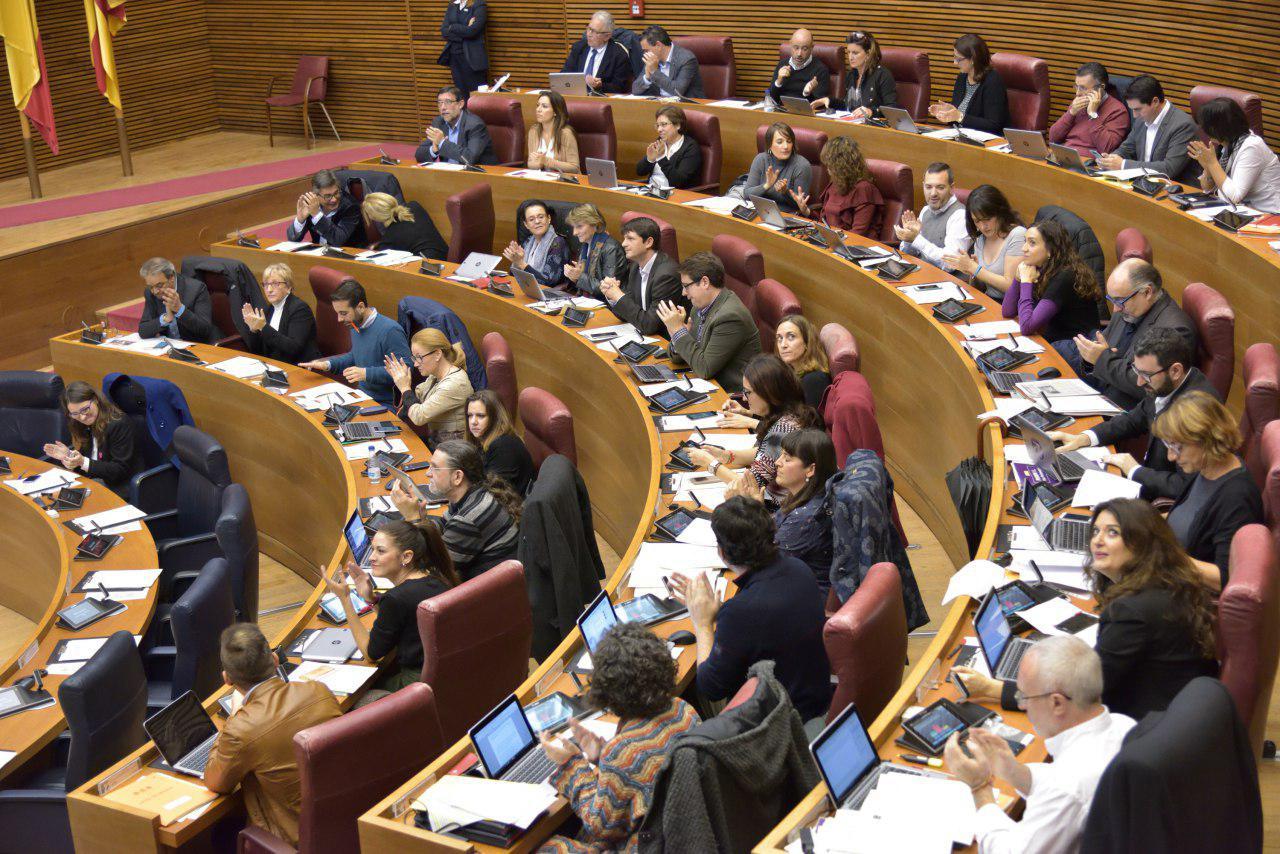 Bancada de Podemos en las Cortes Valencianas