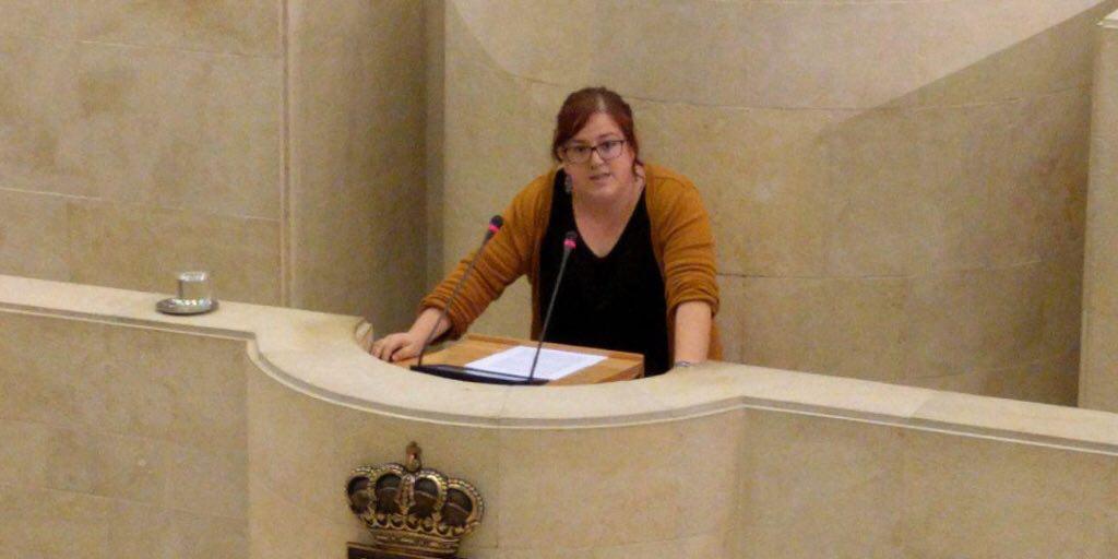 Verónica Ordóñez, portavoz de Podemos en el Parlamento de Cantabria, desde la tribuna del mismo