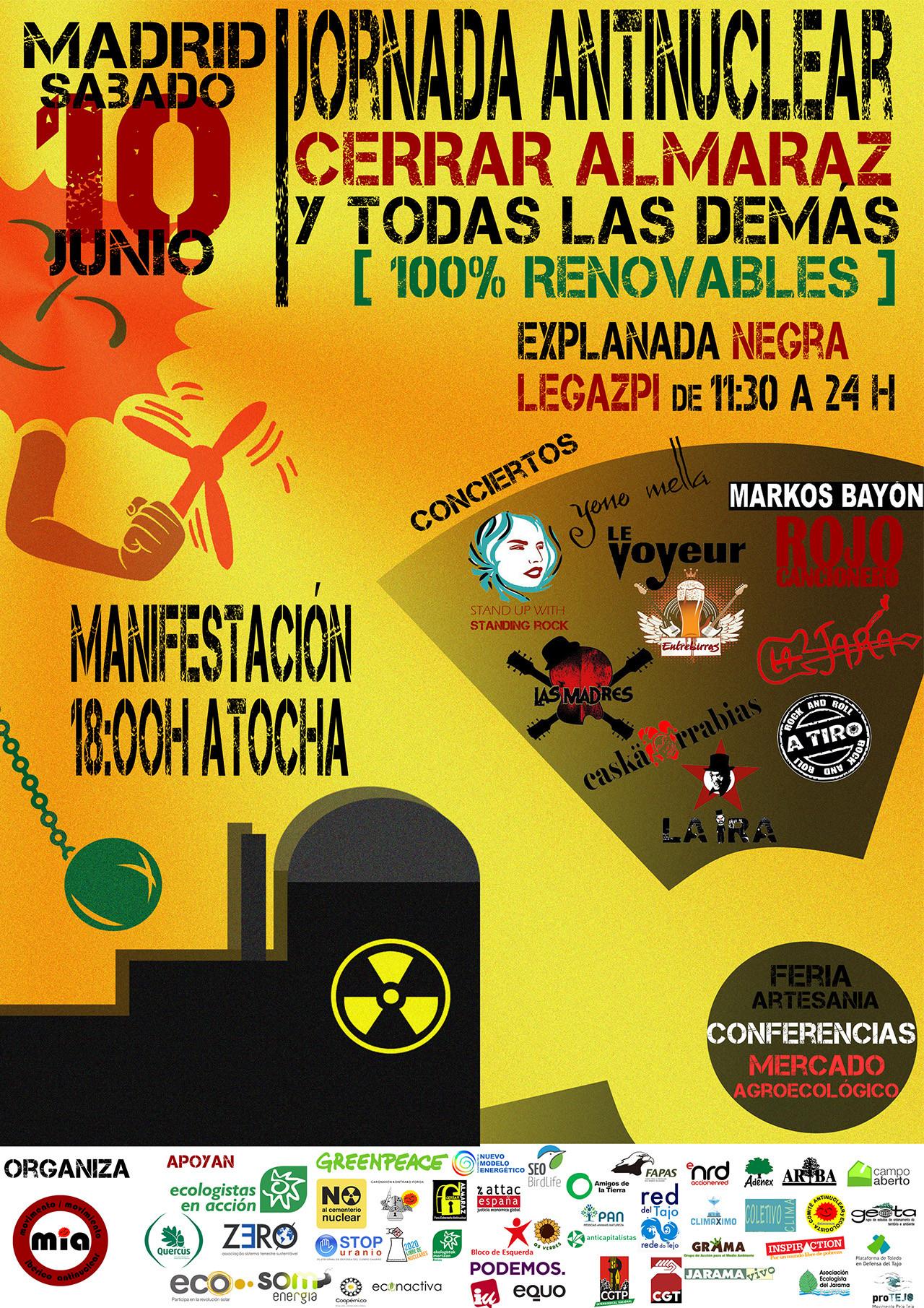 Cartel de la manifestación antinuclear del sábado 10 de junio