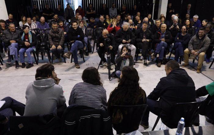 Imagen del acto 'Frente a la uberización de la economía' en Barcelona. PODEMOS