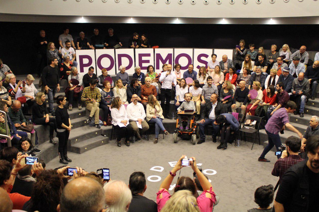 Pablo Echenique durante el acto de ruta estatal de Unidas Podemos en Alicante. FOTO: KEPA BASABE