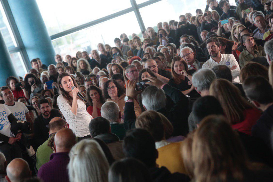Irene Montero durante el acto de cierre de la ruta estatal de presentación de candidatas y candidatos en A Coruña