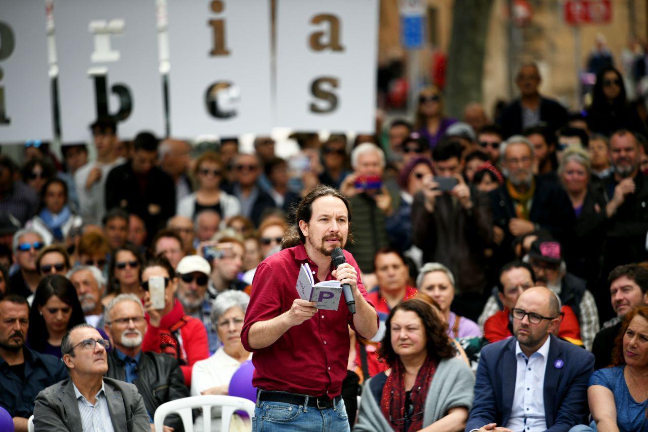 Pablo Iglesias durante el acto en Palma de Mallorca FOTO: Dani Gago