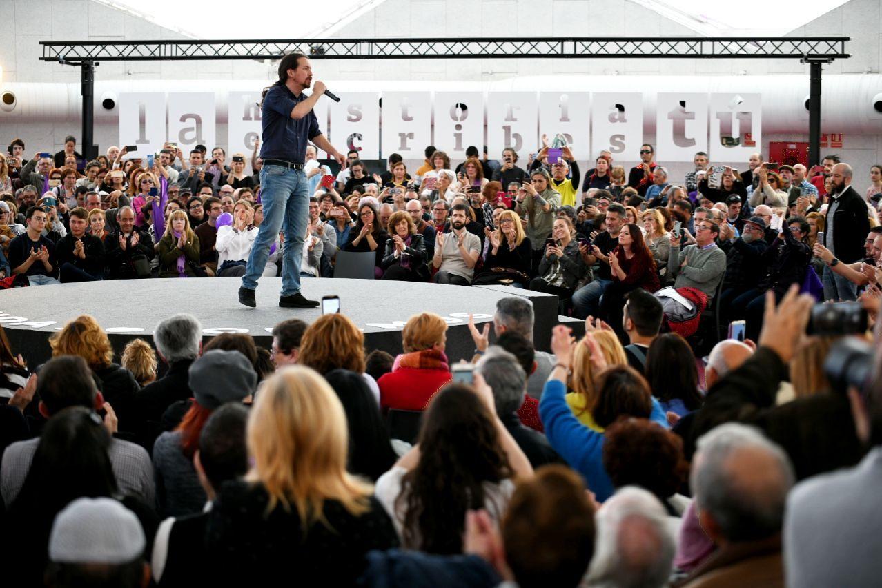 Pablo Iglesias durante el acto en Valladolid. FOTO: DANI GAGO