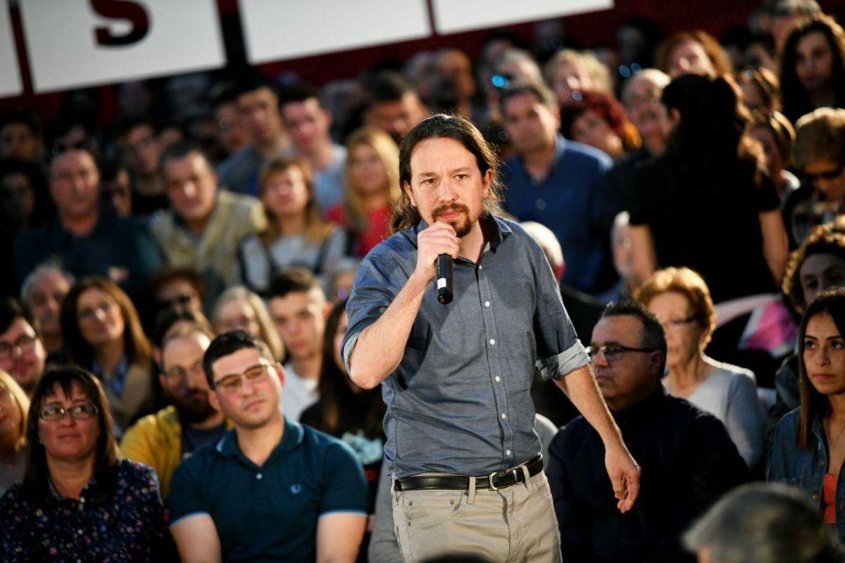 Pablo Iglesias durante el encuentro en Miranda del Ebro. FOTO: Dani Gago