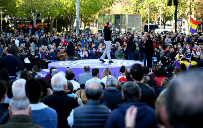 Pablo Iglesias durante su intervención en Barcelona. FOTO: Dani Gago
