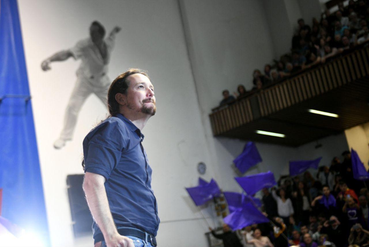 Pablo Iglesias en el acto de Eibar celebrado en la mañana de hoy