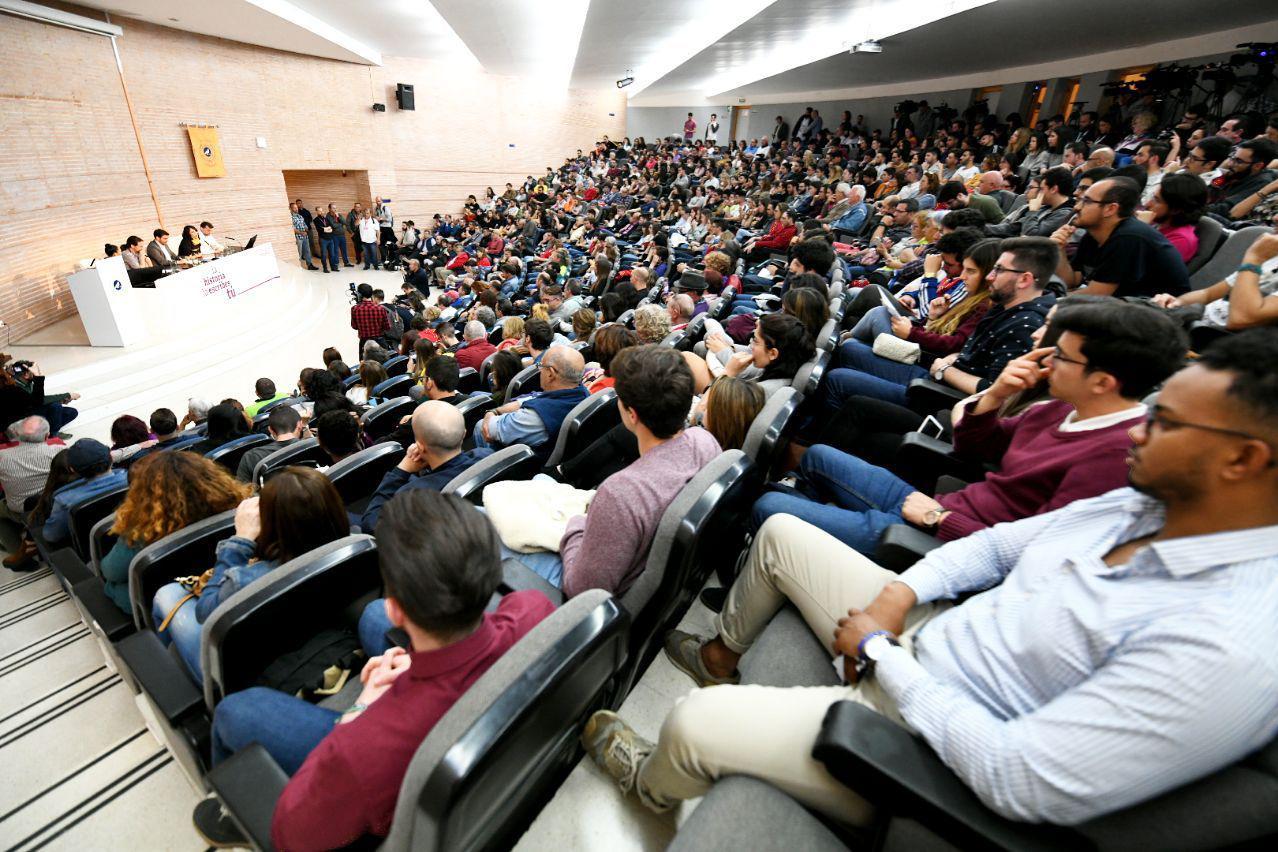 Pablo Iglesias y Alberto Garzón en la Universidad de Málaga. FOTO: DANI GAGO