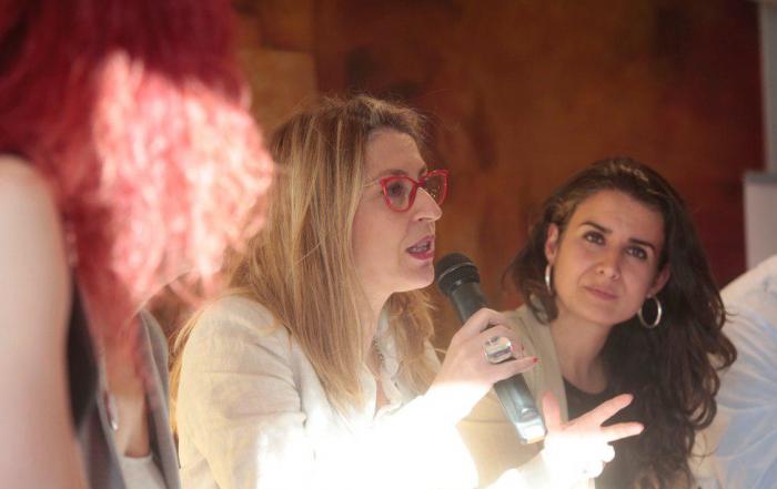 María Eugenia Rodríguez Palop en un momento de su intervención junto a Irene de Miguel. Foto: Irene Lingua